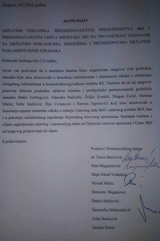 Državni zastupnici od Izetbegovića i Zvizdića traže sastanak o referendumu