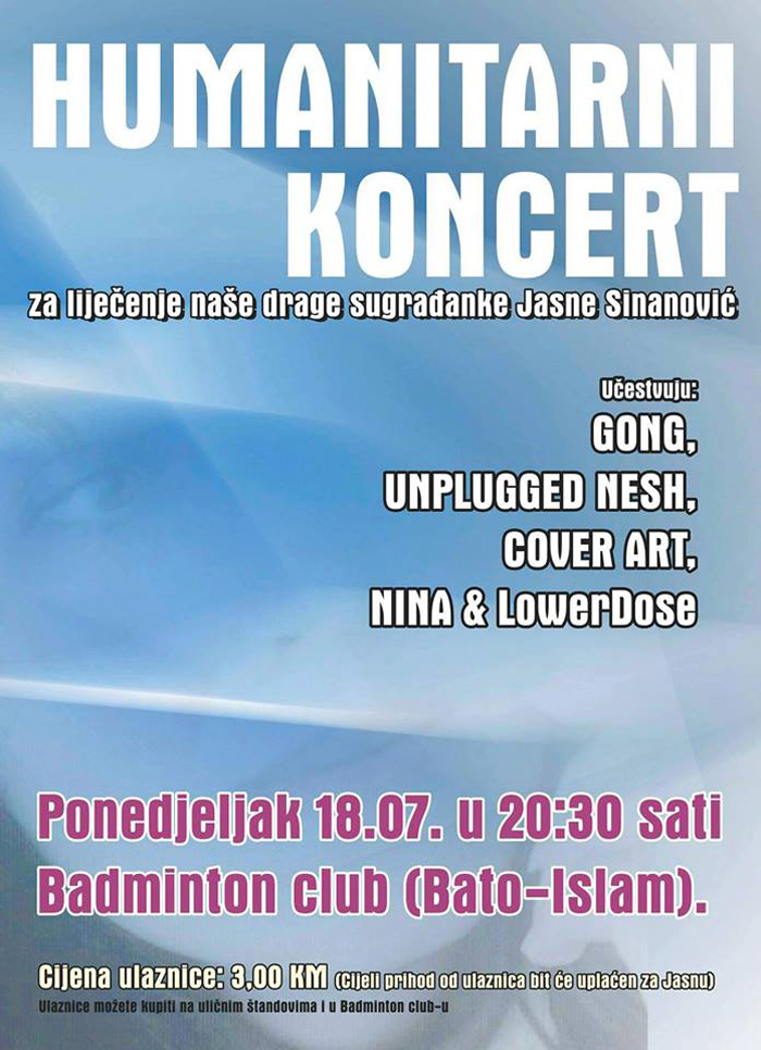 U ponedjeljak humanitarni koncert za Jasnu Sinanović