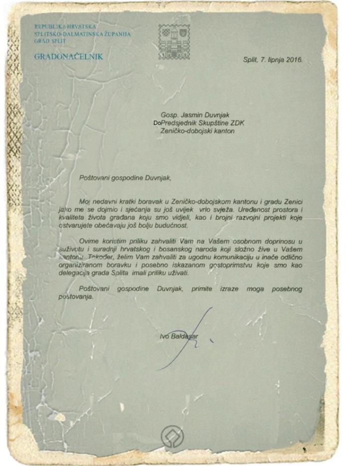 Gradonačelnik Splita oduševljen Zenicom, zahvalio se na gostoprimstvu