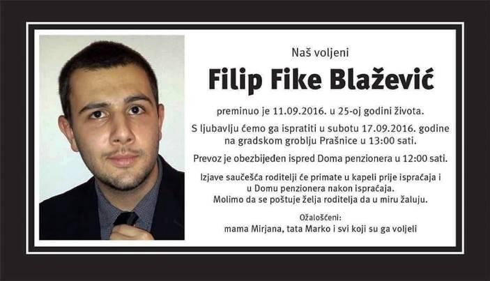 Poznato vrijeme posljednjeg ispraćaja našeg Filipa Blaževića