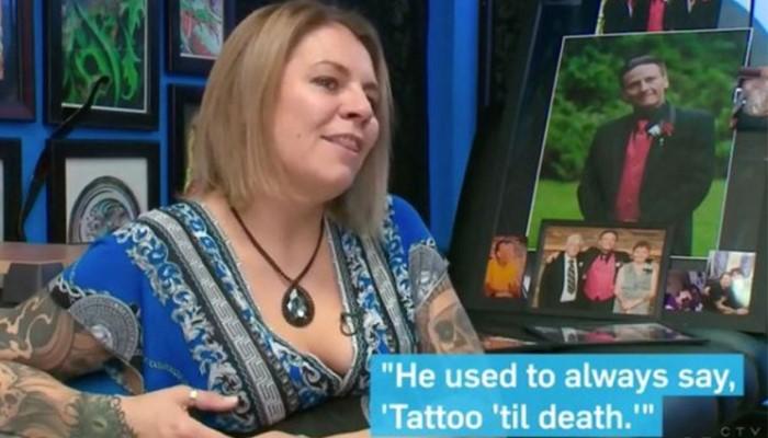 Želi izložiti istetoviranu kožu preminulog supruga