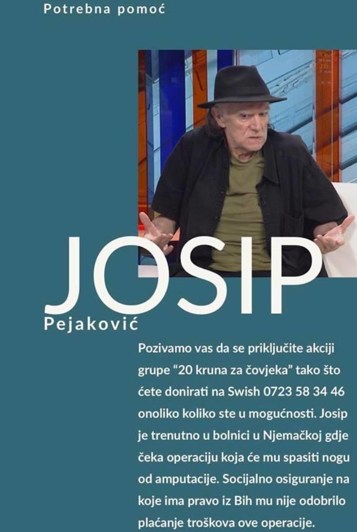 Potreban novac za postoperativno liječenje Pejakovića