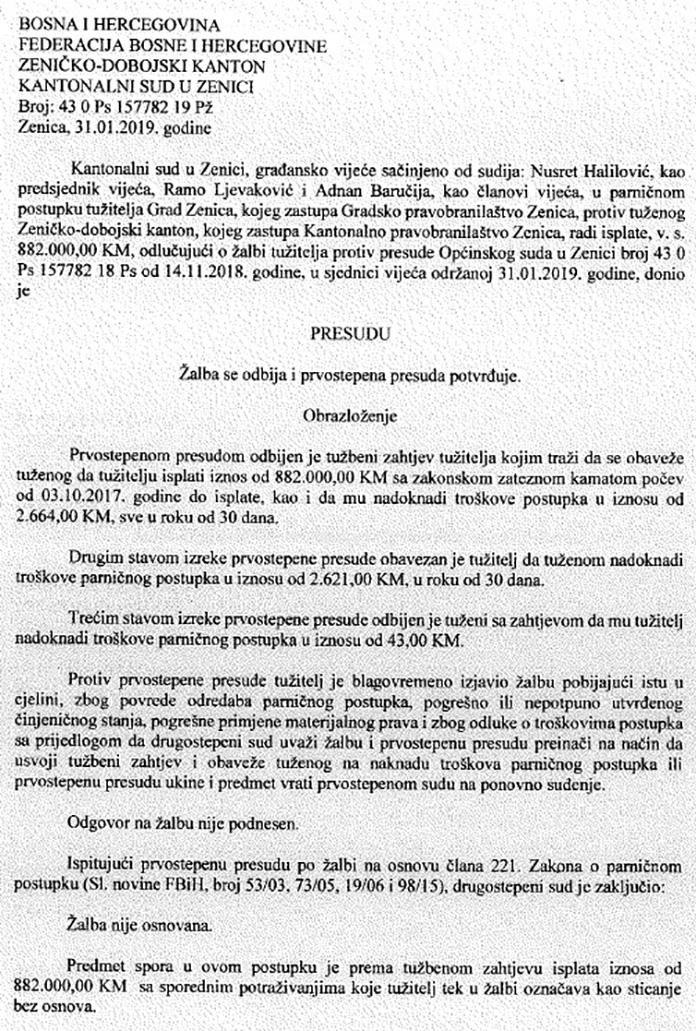 Grad Zenica izgubio spor o vodnim naknadama protiv ZDK