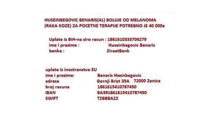 Apel za pomoć našem sugrađaninu Benarisu Huseinbegoviću