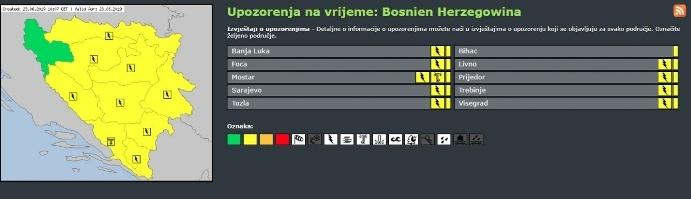 Zbog nevremena u Bosni i Hercegovini izdat žuti meteolarm