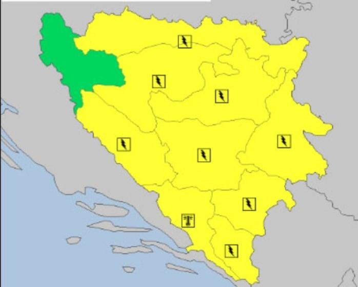 Žuti meteoalarm upaljen na području cijele Bosne i Hercegovine