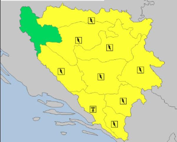U BiH na snazi žuti meteoalarm zbog najavljenje grmljavine