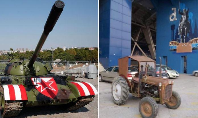Navijači Dinama postavili traktor kao odgovor na tenk u Beogradu