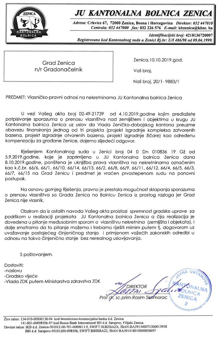 Grad Zenica nije vlasnik zemljišta i objekata u krugu Kantonalne bolnice Zenica