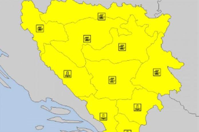 Žuti meteoalarm u BiH