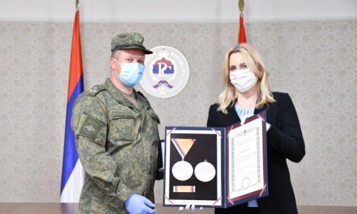 Željka Cvijanović Odlikovanje Pripadnika Ruske Vojske
