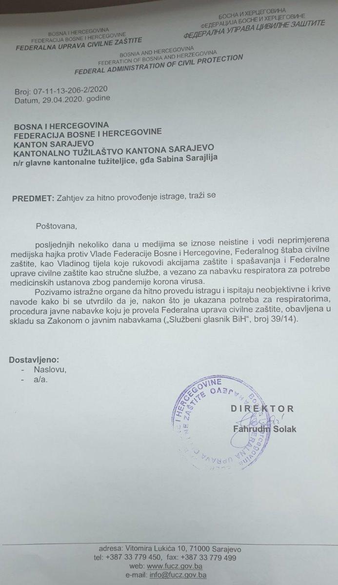 Fahrudin Solak Dopis Tuzilastvu