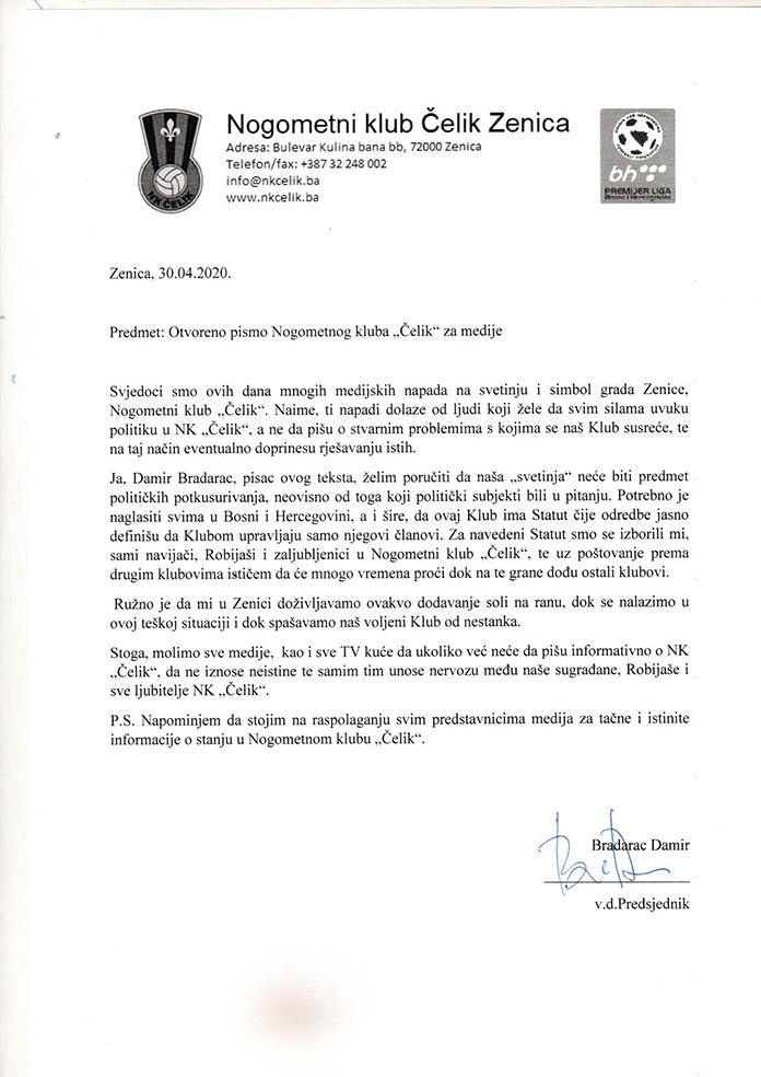 NK Čelik Pismo Za Medije
