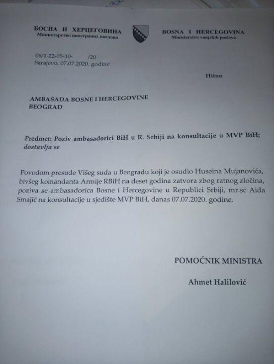 Bosna I Hercegovina Privremeno Povlači Ambasadora Iz Srbije