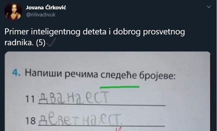 Srbi dijele zadatak iz osnovne škole zbog komentara učiteljice