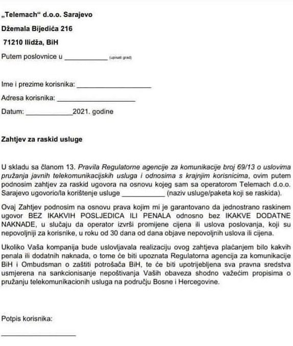 Kako Raskinuti Ugovor Sa Telemachom
