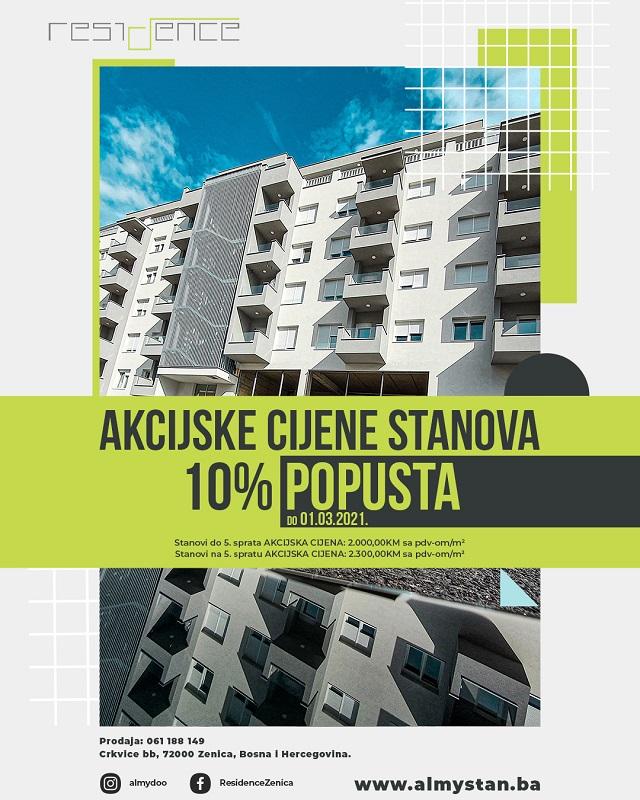Stanovi Residence u Zenici na akciji