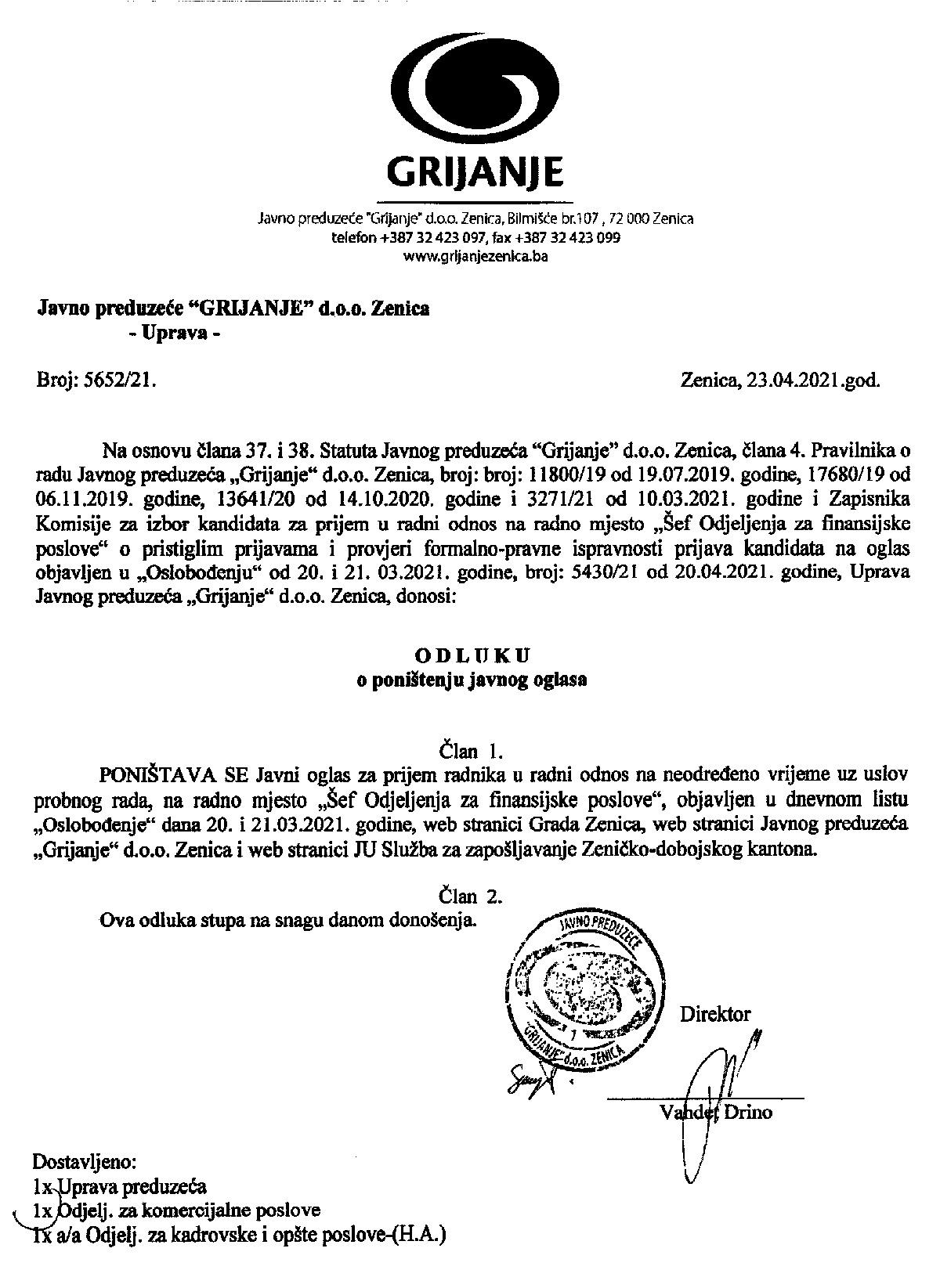 """JP """"Grijanje"""" Zenica poništilo konkurs za prijem radnika"""