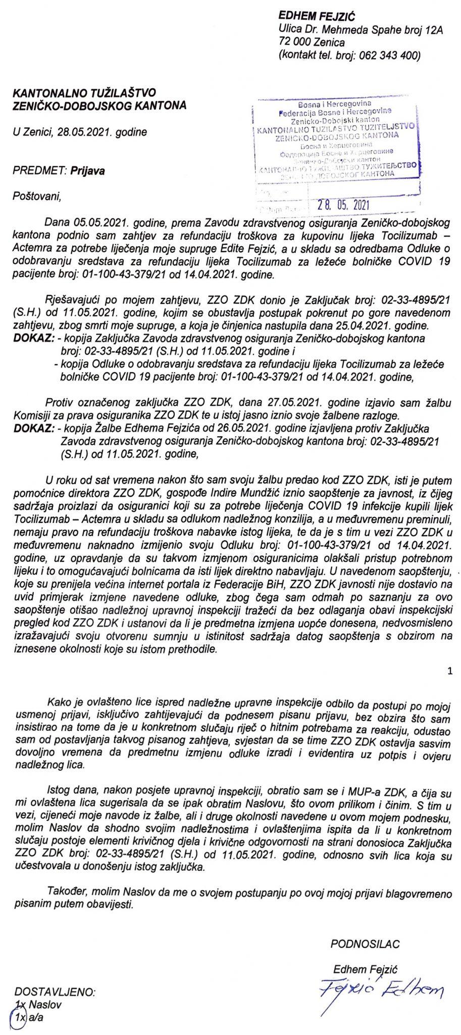 Zeničanin Zavod zdravstvenog osiguranja ZDK prijavio Tužilaštvu ZDK i SIPA-i zbog lijeka Acterma