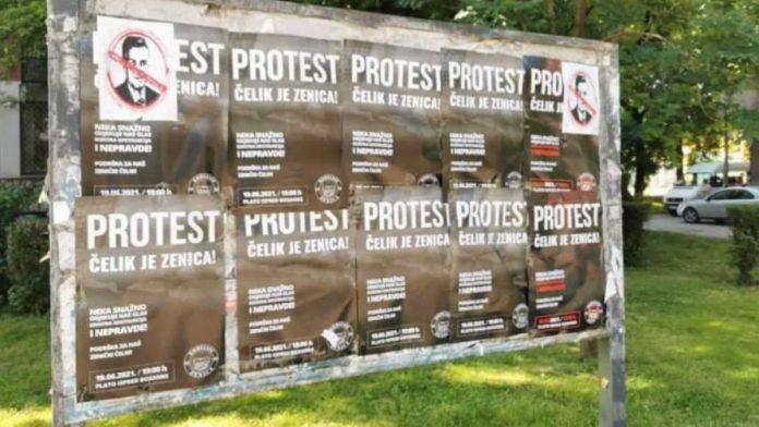 Zenica oblijepljena plakatima za subotnje proteste