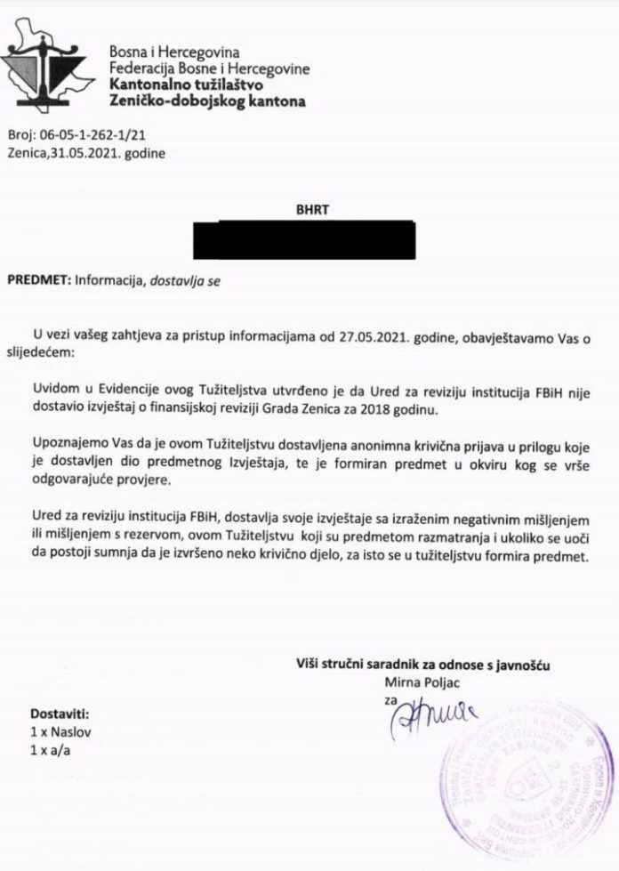 Tužilaštvo ZDK formiralo predmet o finansijskoj reviziji Grada Zenica