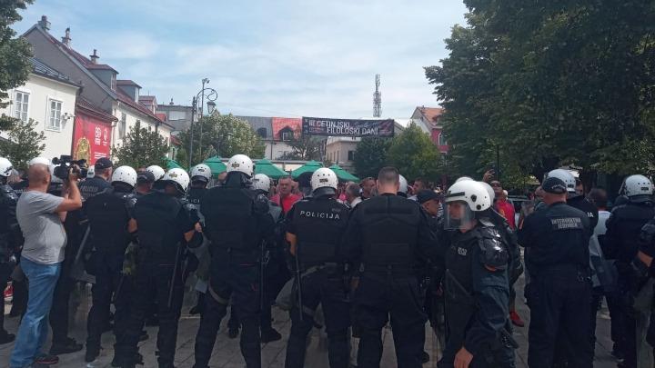 Protesti u Cetinju: Demonstranti srušili ogradu na Dvorskom trgu (VIDEO)